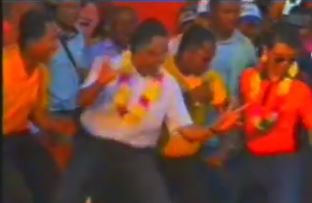 Screen caption of Hery Rajaonarimampianina and Andry Rajoelina during the presidential campaign via Mandimby Maharo with permission