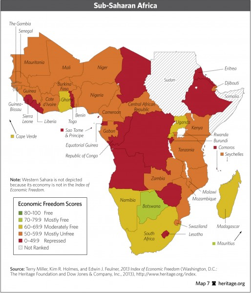 the 2013 Index of economic Freedom in Africa via Heritage Foundation - Public Domain