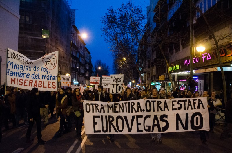 Protesta en contra del proyecto Eurovegas. Foto tomada por Valentin Sama-Rojo. Derechos de autor: Demotix.
