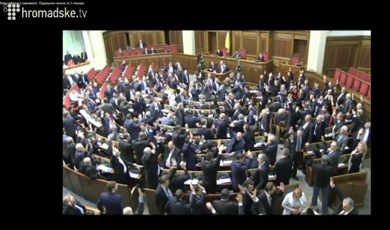 A screenshot of the live broadcast from the Ukrainian Parliament. Pro-Presidential majority adopts the laws by raising hands. January 16, 2014.