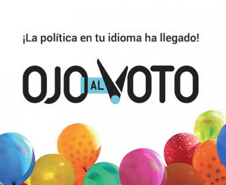 """Politics in your language!"" Image from the Ojo al voto Facebook page."