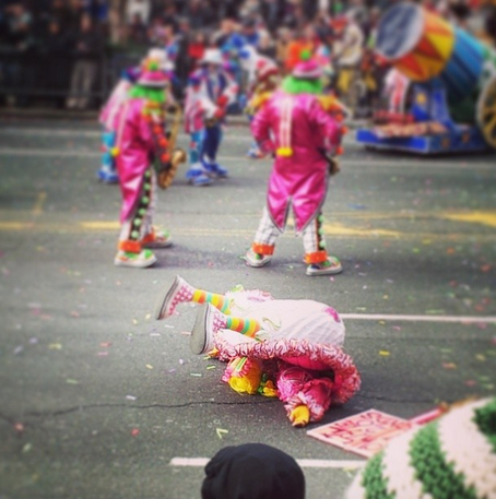 Fallen clown at 2014 Mummers Parade. Photo by Carlykbad via Instagram.