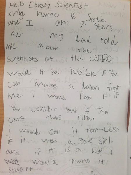 ソフィーからの礼儀正しい手紙(画像は CSIRO News 公式ブログより)