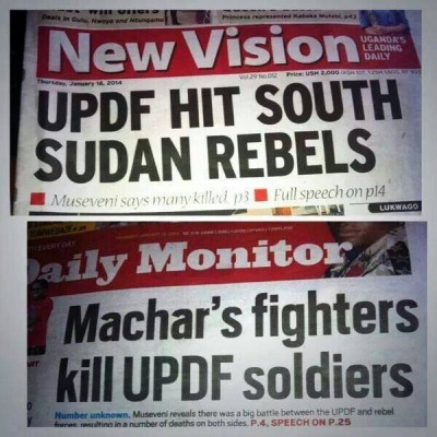 Two competing headlines sharing the news of Ugandan troops' involvement in the fighting in South Sudan. Shared on Facebook by Ugandan media personality MC Kats.