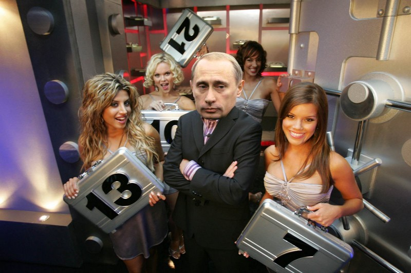 """Deal or no deal,"" brought to you by Russian President Vladimir Putin. Images mixed by Kevin Rothrock."
