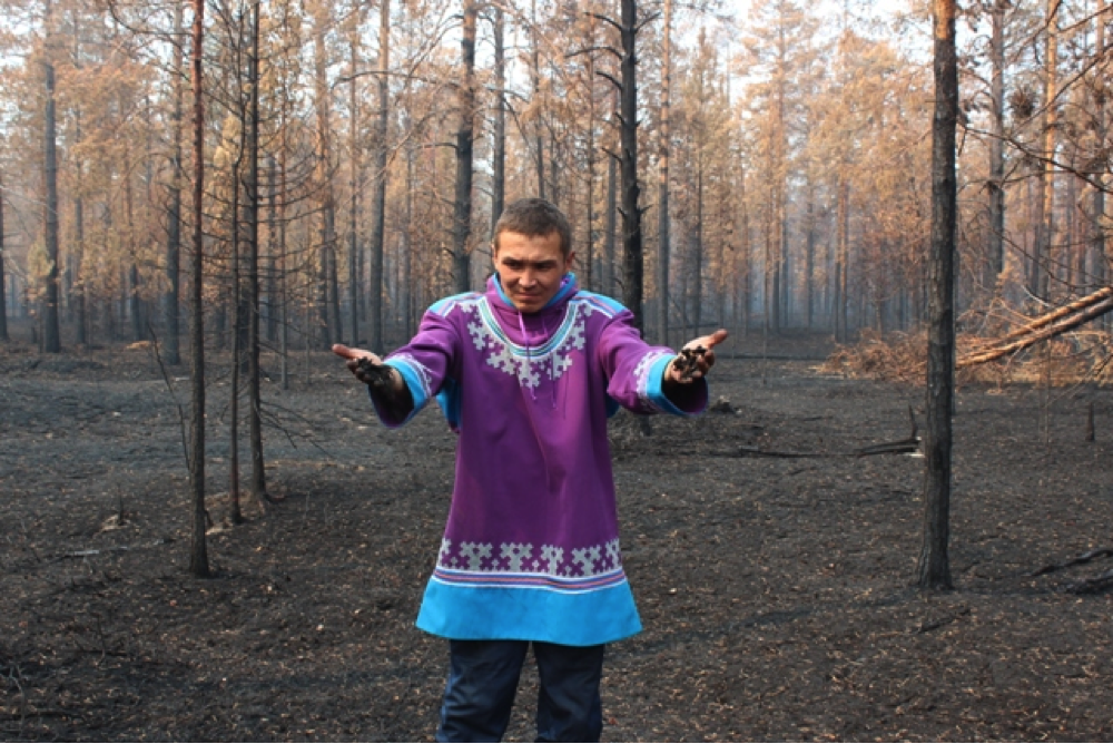 Aleksandr Aypin holds the reindeer moss that burned in wildfires. Photo credit: Aleksandr Aypin for 350.org