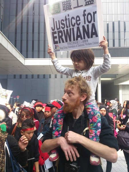 Many kids joined the rally to support their nannies. Image from campaign page: Justice for Erwiana!
