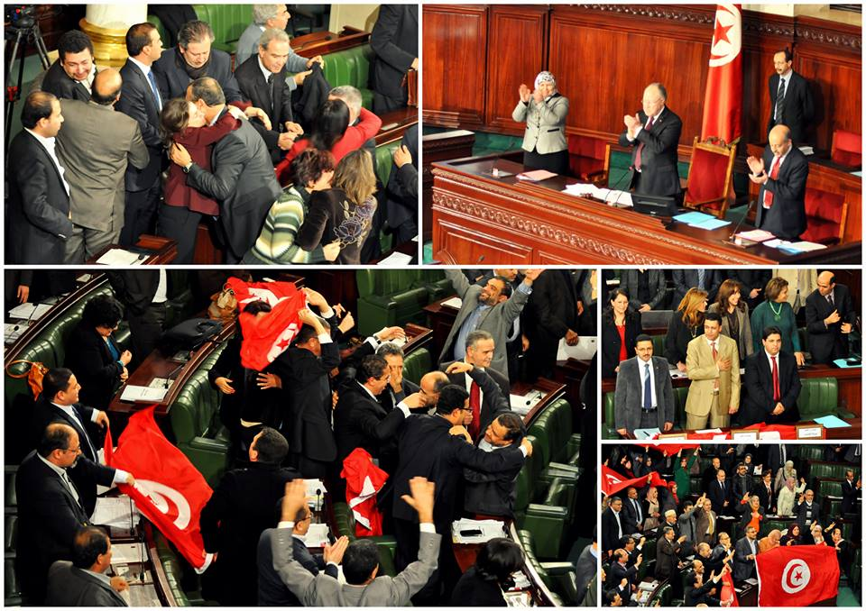 Euphoric moment at the Tunisian Constituent Assembly after the Approval of the Constitution. Photo Credit: Albawsala