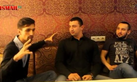 Three of Tajikistan's most popular rappers (from left to right): Alisho, Bakha 84, and Master Ismail. Screen capture from YouTube video uploaded on October 21, 2012, by TojTV.