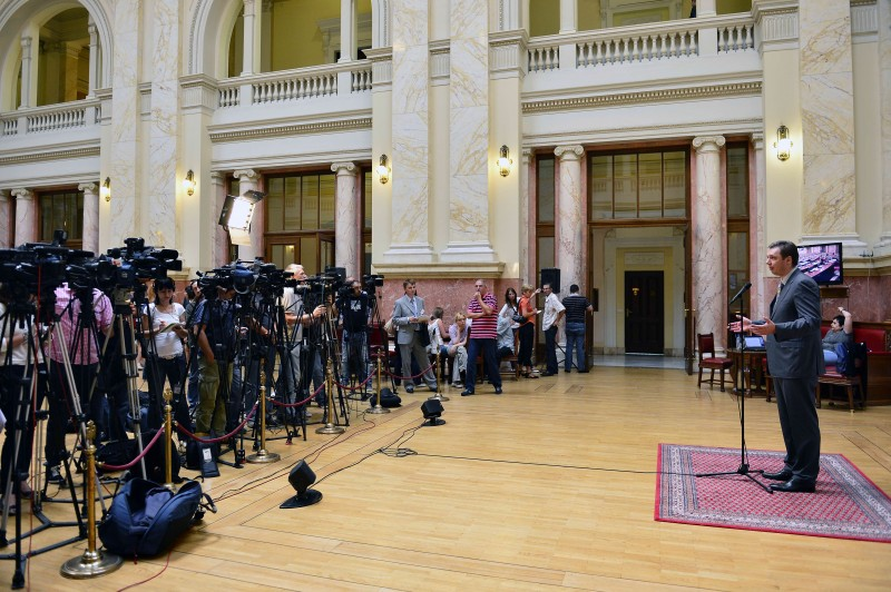 Deputy Prime Minister and Serbian Progressive Party leader Aleksandar Vučić addressing media after a parliament session, July 23, 2012. Photo by Nemanja Jovanović, copyright Demotix, sed with permission.