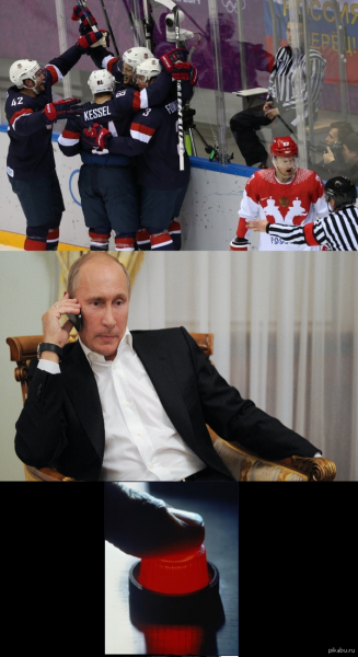 Putin over-reacts to Russia's hockey loss.