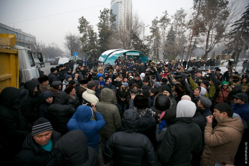 February 15, 2014 protest in Almaty. Photo by Damir Otegen, used with permission.