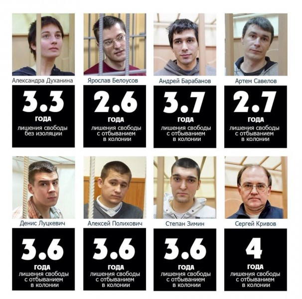 An image showing the Bolotnaya prisoners and their sentences. Anonymous image found online.