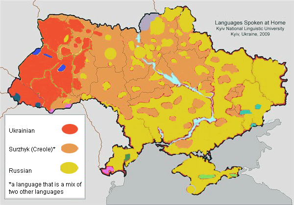 This language map by Kiev National Linguistic University shows the split between Russian speaking east and Ukrainian speaking west.