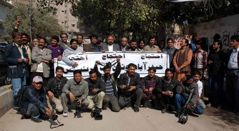 Journalists of Hyderabad held a protest against the killing of 3 Media organization workers in Karachi. The Tehrik Taliban accepted responsibility for the killings. Image by Rajput Yasir. Copyright Demotix (18/1/2014)