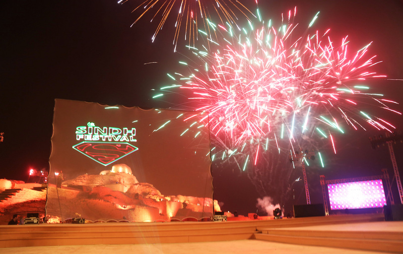 Fireworks during the opening ceremony of Sindh Festival held in Moen Jo Daro. Image by Jamal Dawoodpoto. Copyright Demotix (3/2/2014)