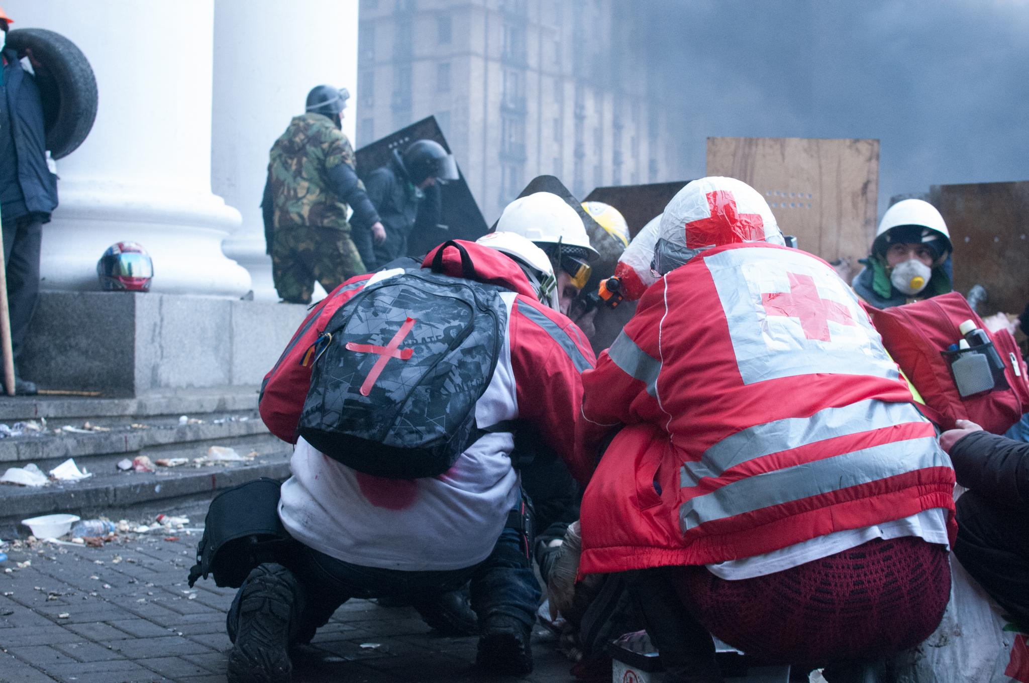 Volunteer medics attend to the wounded