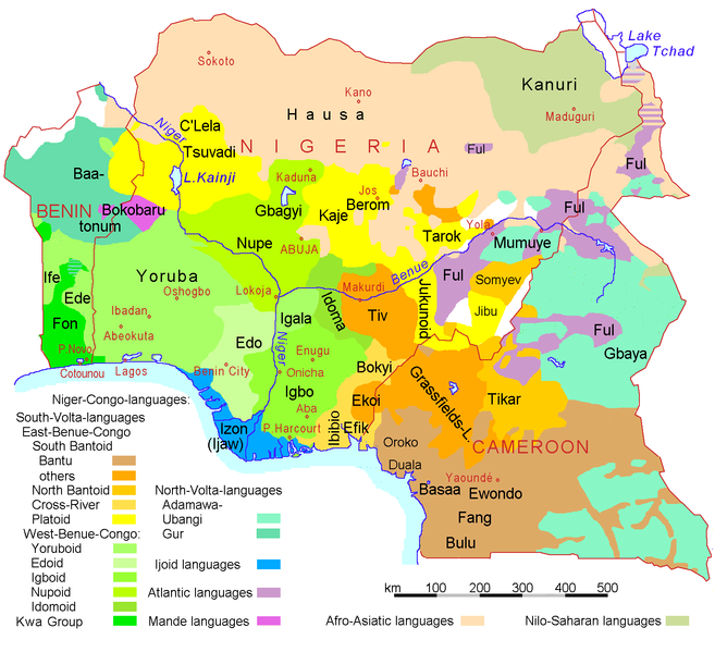 A Linguistic map of Nigeria, Cameroon, and Benin. [Image released to  Creative Commons]