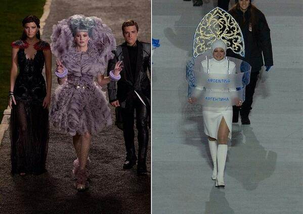 Character from the Hunger Games movie, and model carrying Argentina's plaque in the opening ceremony parade. Anonymous image found online.
