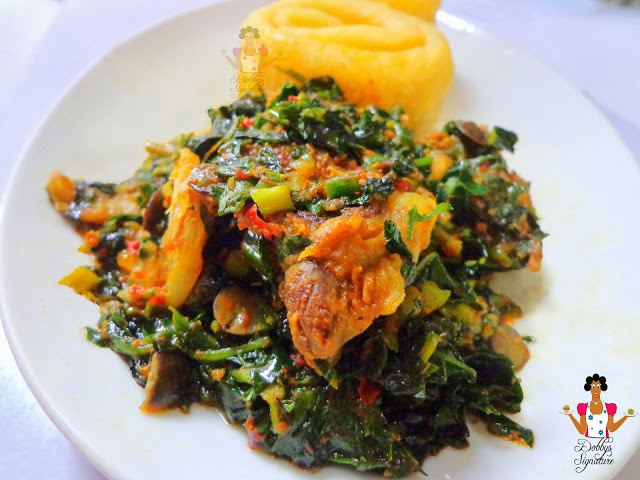 Efo Riro is a Nigerian vegetable soup. Image used with permission from Dobby Signature.