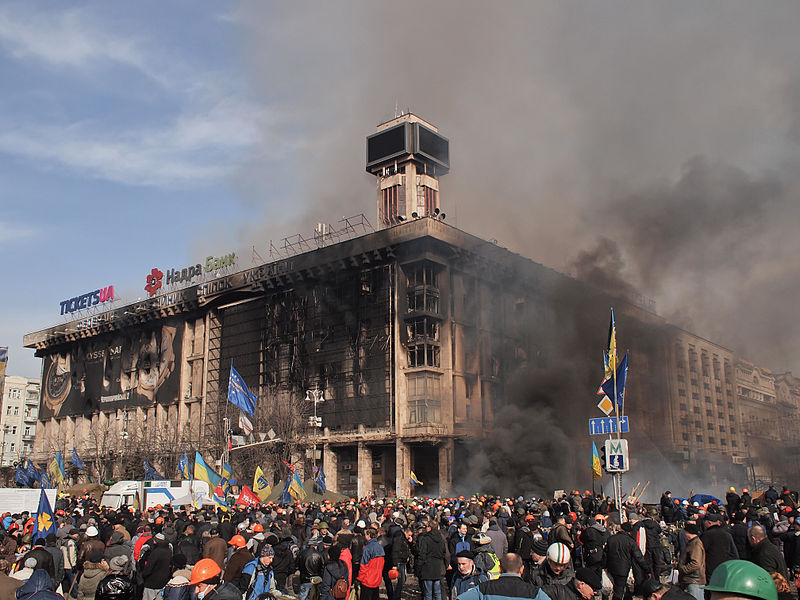 Ukraine's Trade Union House, headquarters of the protesters burns