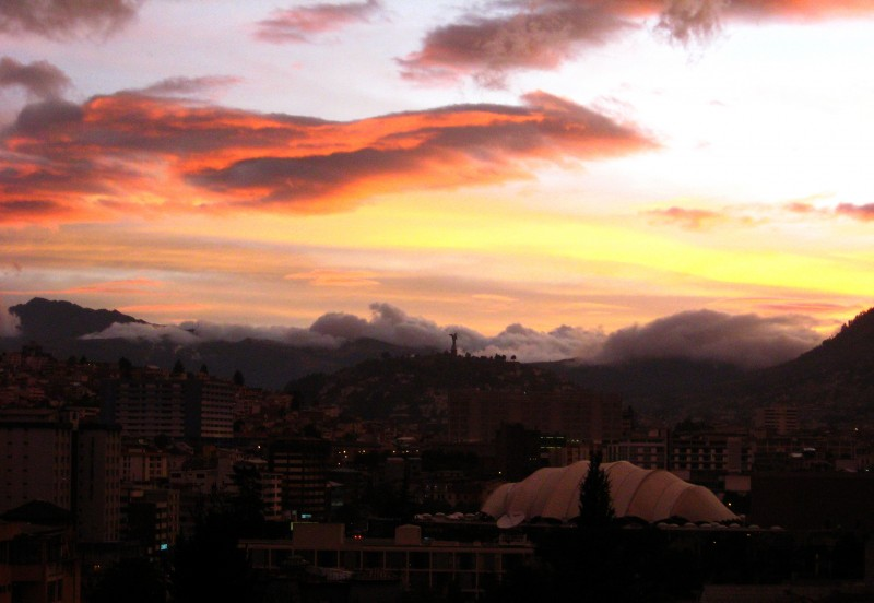 Sunset in Quito, Ecuador.