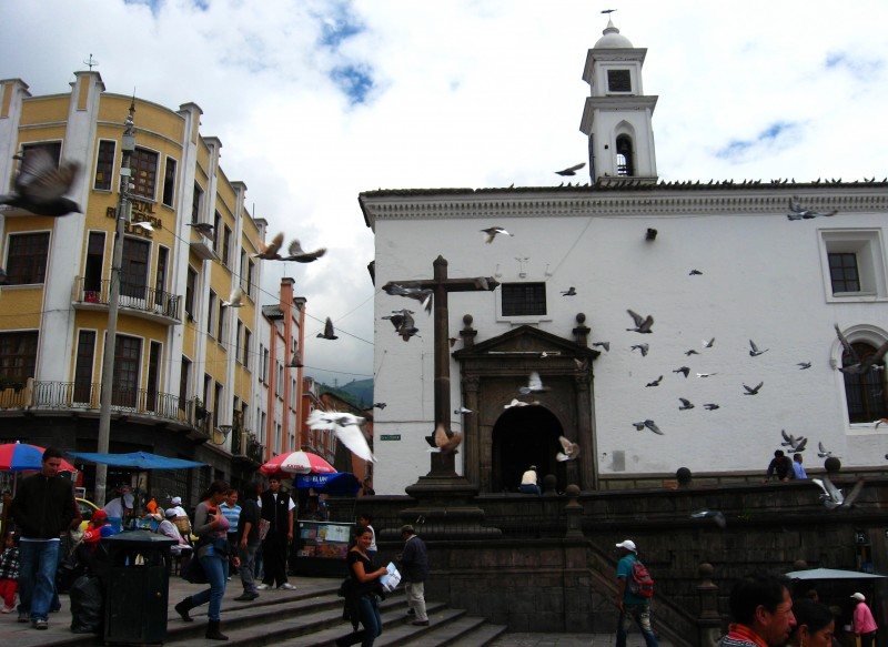 Corner of San Francisco Square, Quito, Ecuador.