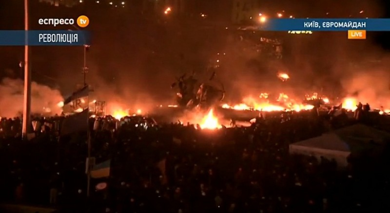 A screencap from Maidan Nezalezhnosti [Independance Square] in central Kyiv, Ukraine. Feb. 19, 2014