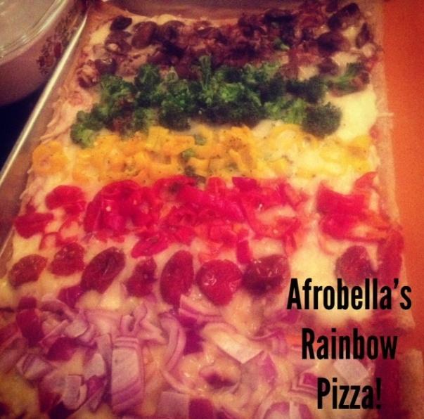 Rainbow Pizza, a la Afrobella.