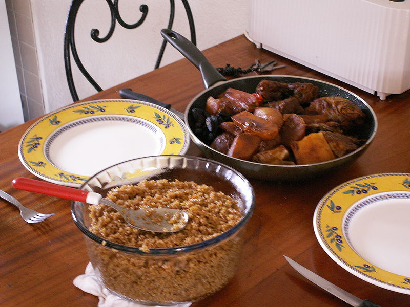 Senegalese national dish cebe..... Photo released in the public domain by Wikipedia user KVDP.