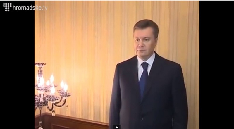 A screencap of President Yanukovych' address released on Feb. 22, 2014