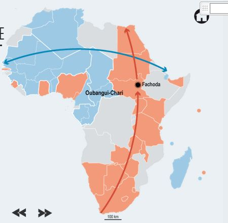 Screen capture of animated slideshow on the legacy of French and English colonization in Africa via Le Monde