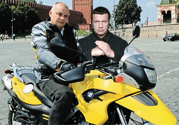The bullies of the Russian media. Dmitri Kiselyov, left, and Vladimir Solovyov, right. Images mixed by Kevin Rothrock.