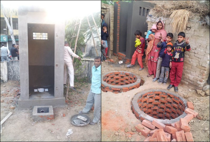 A dry toilet being converted into a twin pit pour flush system. Images courtesy UNICEF India
