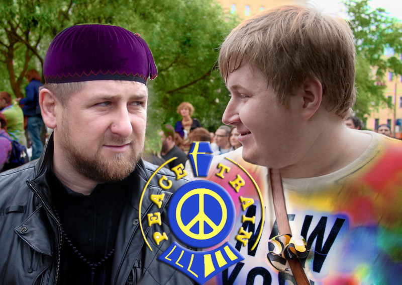 A Yin and Yang of Russian trollitics, Leader of Chechnya Ramzan Kadyrov and nationalist blogger Egor Prosvirnin. Unlikely bedfellows. Images remixed by author.