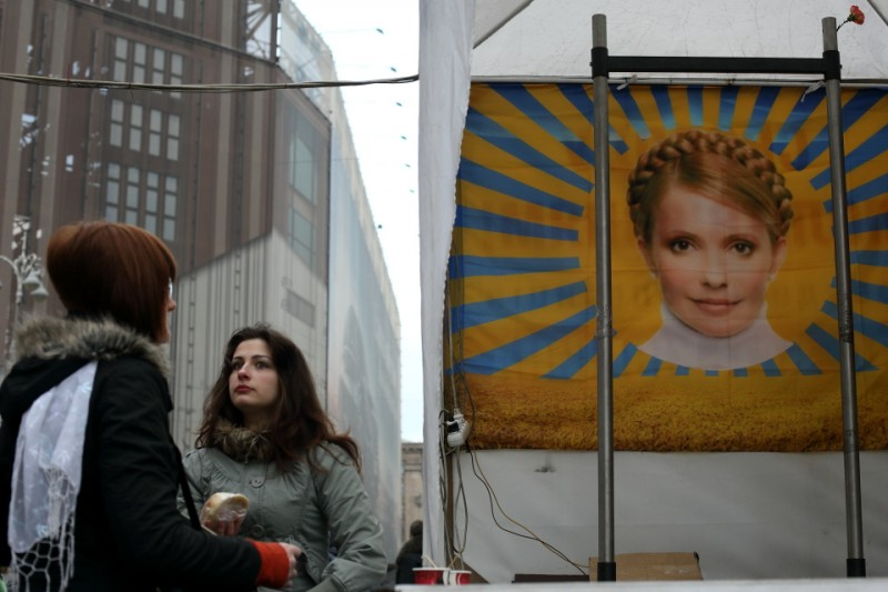Kyiv's Maidan. Portrait of Ukraine's former prime minister Yulia Tymoshenko, released from jail after the ousting of Yanukovich. Image by Bektour Iskender, used with permission.