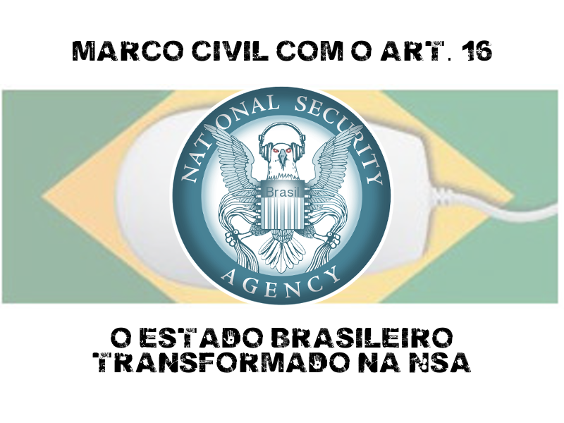 """Marco Civil with article 16: Brazilian government becomes NSA"". Banner from the #16igualNSA campaign (""article 16 leans towards NSA surveillance"")."