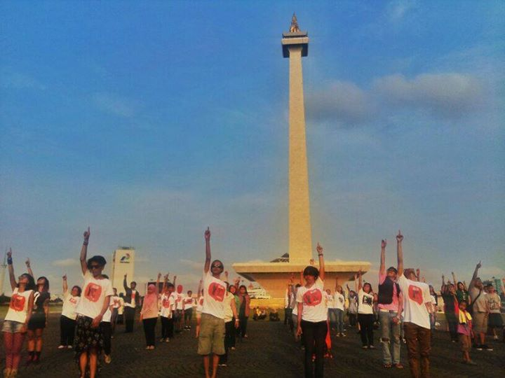 The 'One Billion Rising' dance was performed in seven cities in Indonesia