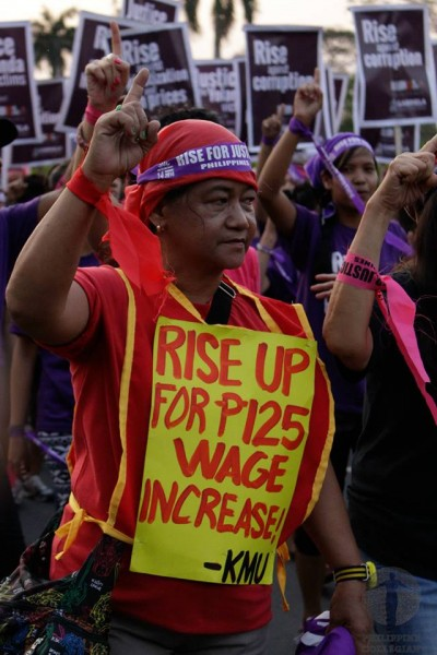 Workers called for a wage hike as part of the campaign for social justice