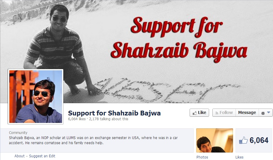 Screenshot of Facebook page supporting  Muhammad Shahzaib Bajwa