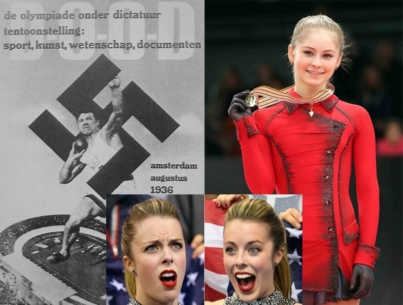 Hans Woellke (left) and Julia Lipnitskaia (right) compared. Ashley Wagner's reaction-face meme responds. (Images mixed by Kevin Rothrock.)