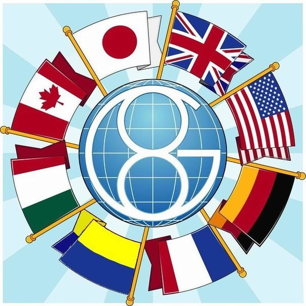 G8 logo. Russian flag has been replaced with the Ukrainian one, on the lower left. Anonymous image found online.