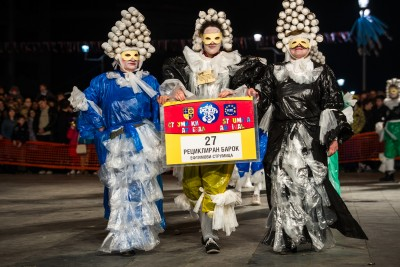 "Members of a Strumica carnival group named ""Recycled Baroque.""  Photo: Vanco Dzambaski (CC BY-NC-SA)"