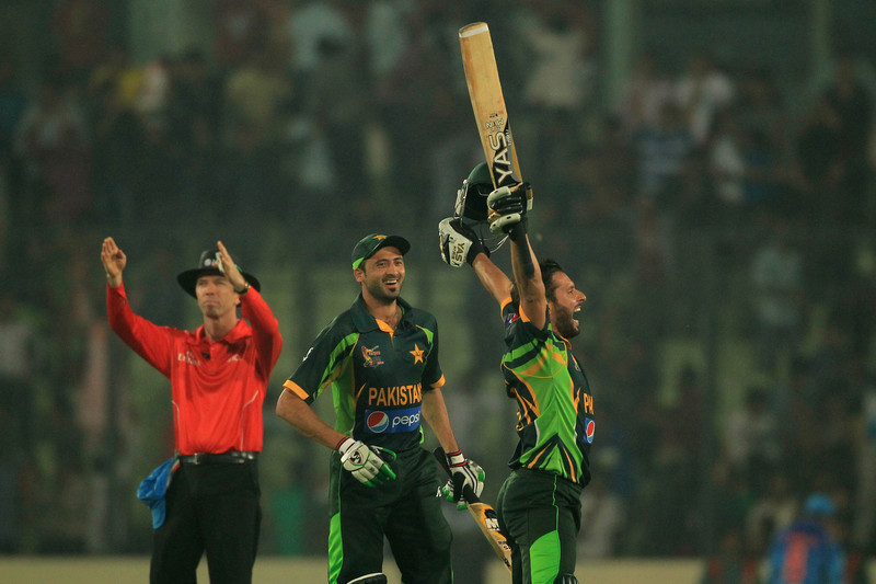 Shahid Afridi scored the winning runs in the Asia Cup Match against India at the Sher-e-Bangla National Cricket Stadium in Mirpur, Bangladesh. Image by Md. Manik. Copyright Demotix (2/3/2014)