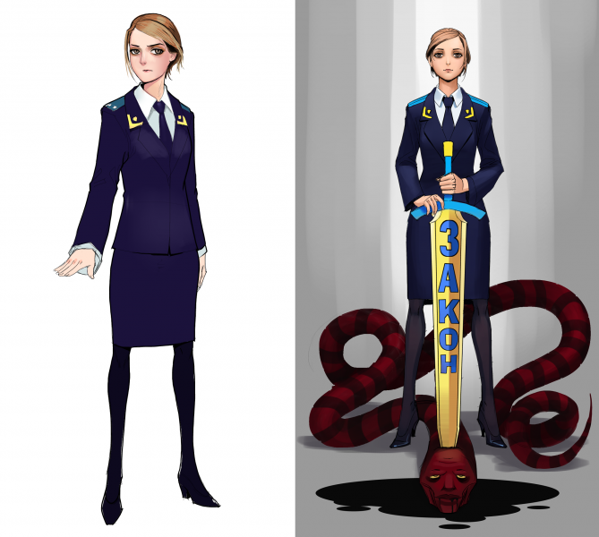 "In the right image Poklonskaya is holding a sword with ""LAW"" written on it, piercing the head of a Right Sector-colored snake. The artist is likely Russian."