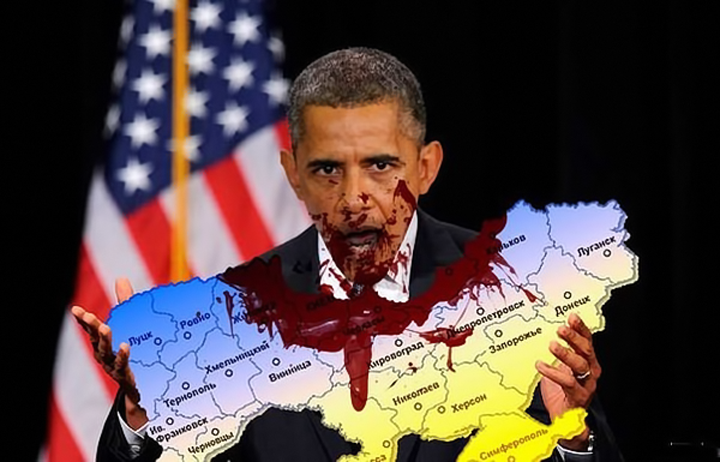 Obama hungry. Obama eat Ukraine. Anonymous image found online.