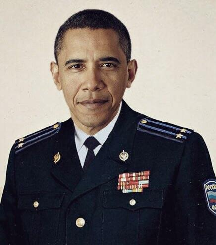 President Obama dressed in an FSB (Federal Security Bureau) uniform. Anonymous image found online.