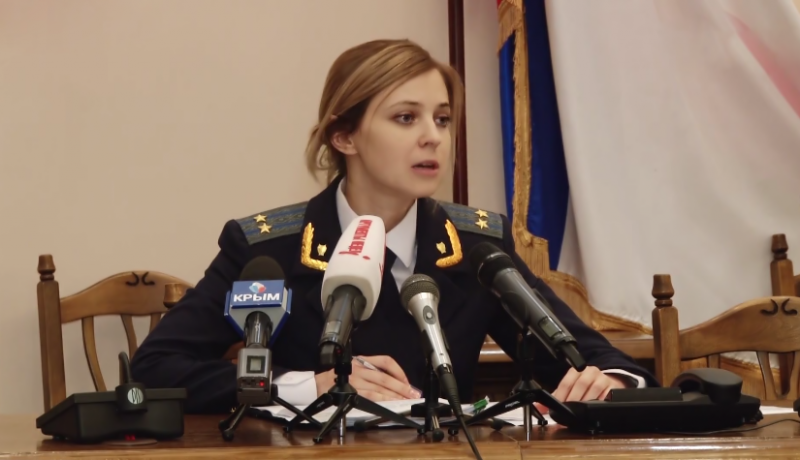 Natalia Poklonskya talking to the press. YouTube screenshot.
