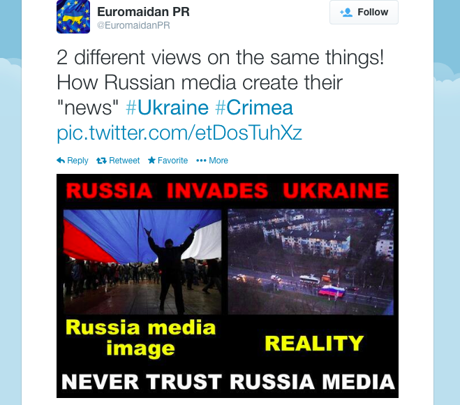 A composite image created by activists showing the same event in Crimea, Ukraine from two vantage points, to stress how different frames can be applied to show the scale of welcome for Russia in Crimea. Courtesy of Euromaidan PR on Twitter.