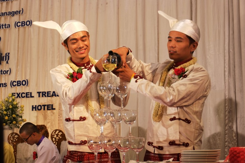 Myo Min Htet and Tin Ko Ko marry as the first public gay couple in Yangon, Myanmar. Photo by Thet Htoo, Copyright @Demotix (3/2/2014)